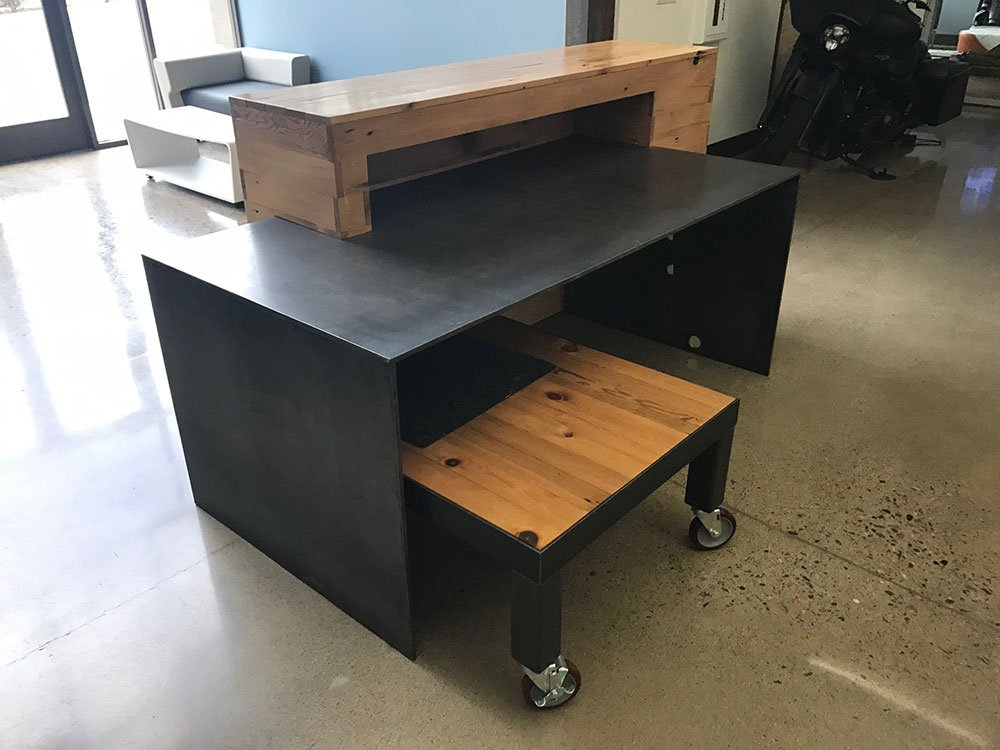 custom steel and wood office desk - precision installation